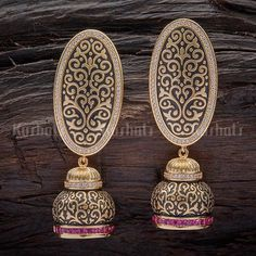 Designer zircon earrings studded with synthetic cz stone and plated with gold polish Indian Jewelry Earrings, Fancy Jewellery, Jhumki Earrings, Jewelry Design Earrings, Gold Earrings Designs, Stylish Jewelry, Modern Jewelry, Fashion Earrings, Gold Jewelry