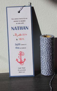 faire-part Naissance marque page thème 'marin' : Faire-part par chut-je-scrappe