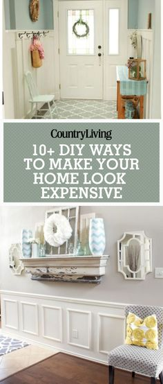 How to's : These DIY architectural details will give your home tons of character for just a fraction of the cost. Make your home look more expensive with these easy DIY techniques like adding faux wainscoting for your living room. Add a panel wall to your Home Design, Interior Design, Design Ideas, Interior Architecture, Room Interior, Interior Painting, Classical Architecture, Interior Ideas, Easy Home Decor