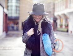 navy and sky blue faux fur scarf by Charlotte Simone