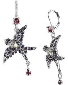 ICONIC AMETHYST BIRD DROP EARRING PURPLE accessories jewelry earrings fashion