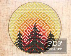 Forest cross stitch pattern Modern cross stitch Wild hoop art Wood cross stitch pattern Travel cross stitch Nature embroidery Scandinavian