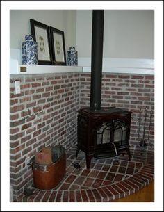 wood stove and mantel