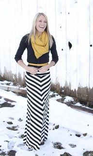Black  White Chevron Maxi with Mustard Scarf