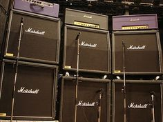 Marshall Amps Stacked Up On Stage   Marshall amp gallery