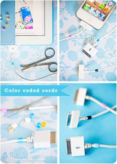 Color coded cords with hama beads....  Well it would be perfect... if i had lots of Apple items c:
