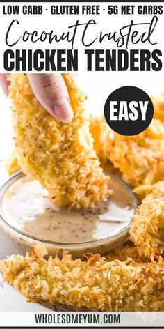 Baked Coconut Chicken Tenders Recipe (Low Carb, Paleo) - These easy baked coconut chicken tenders are crispy and need just 6 ingredients! You won't believe this healthy paleo coconut chicken recipe is low carb and gluten-free. Healthy Low Carb Recipes, Low Carb Dinner Recipes, Ketogenic Recipes, Keto Recipes, Cooking Recipes, Soup Recipes, Pasta Recipes, Cooking Tips, Breakfast Recipes