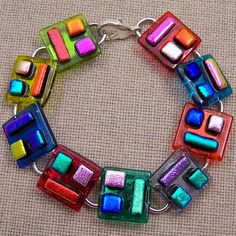 Dichroic Link Bracelet - Upside Down Patchwork Fused Glass - Rainbow Red Blue Gold Green Pink