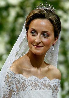 Princess Claire, wife of Prince Laurent, wearing her Wedding Tiara, Belgium (diamonds). Royal Wedding Gowns, Royal Weddings, Wedding Bride, Wedding Dresses, Wedding Ceremony, Royal Marriage, Marriage Dress, Royal Tiaras, Royal Jewels