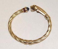 14kt Gold Panther Hindged Cuff Bracelet Wild Cat