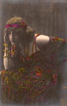 Lyda Borelli as Salomé, Famous Italian Silent Film Actress Stunning Exotic Portrait Original Rare 1910s Spanish Hand Tinted Photo Postcard