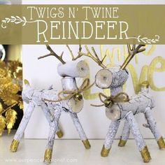 twigs twine reindeeer, christmas decorations, crafts, gardening
