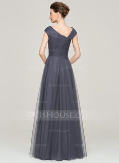 A-Line/Princess Floor-Length Ruffle Beading Sequins Zipper Up Cap Straps Sleeveless No 2015 Other Colors Spring Summer Fall General Plus Tulle Mother of the Bride Dress