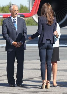 Catherine, Duchess of Cambridge boards a Canadian Airforce jet to Slave Lake on July 6, 2011 in Yellowknife, Northern Territories, Canada.