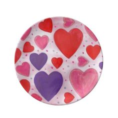 Pink Purple and Red Valentine's Day Hearts Porcelain Plate - heart gifts love hearts special diy