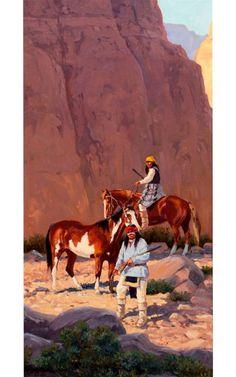 "Painting : Ron Stewart Oil Painting, Original Ron Stewart Oil, ""Canyon Shadows"" Signed Ron Stewart, kK"