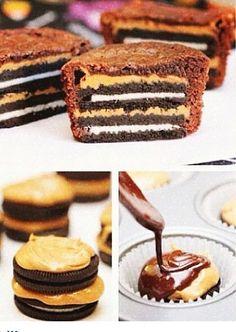 Oreo with peanutbutter inside a brownie cupcake:) i wanna make this!!!