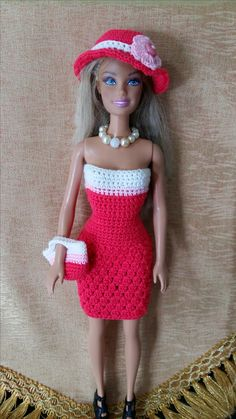 Crochet barbie cluster stitch dress