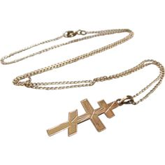 14K Gold French Cross Of Lorraine