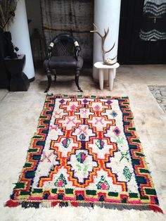 Vintage Moroccan rug Boucherouite wool by BazaarLiving on Etsy