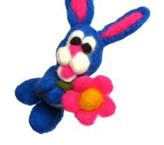 OOAK Needle Felted Bunny with Flower  Blue by HeartWishezStudio, $25.00