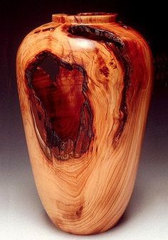 Vase, English Yew Wood, Root with Bark Inclusions -- Edric Florenc. -Hollow-Turned Vase, English Yew Wood, Root with Bark Inclusions -- Edric Florenc. Wood Turning Lathe, Wood Turning Projects, Wood Projects, Lathe Projects, Wood Vase, Wood Bowls, Got Wood, Wood Creations, Wooden Art