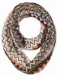 Brown Multi Color Knit Chevron Infinity Scarf