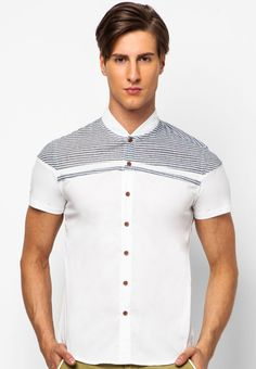 Domple Men Hipster Short Sleeve Casual Button Front Color Block Slim Fit Shirts
