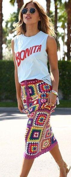 White Tank + Carnaby Crochet Skirt                                                                             Source