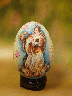 Dog/ Yorkshire Terrler/ Hand Painted Dog/ Good Saying/ Hand Painted On Goose Egg Shell/ Egg Shell Art/ By Shenyue