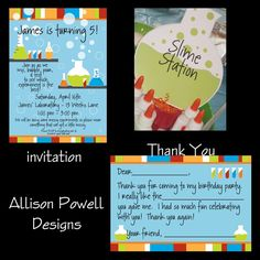 Mad Scientist invitations, thank you notes and decorations