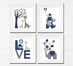 Grey and navy Nursery Art Print Set 5x7 Kids Room by SugarInspire, $34.95