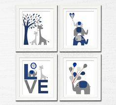 Grey and navy Nursery Art Print Set 5x7 Kids Room by SugarInspire, $34.95