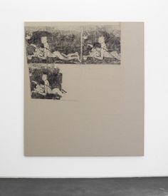 """Cosima von Bonin Sergej Jensen Michael Krebber """"Orangenpflücker"""", 2014 Kohle auf Leinen 207 x 185 cm"""