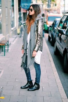Nu/Majawyh street style chic, street style fashion week, cooler l Street Style Fashion Week, Look Street Style, Look Fashion, Fashion Outfits, Womens Fashion, Blazer Fashion, Fall Fashion, Look Boho Chic, Sequin Outfit