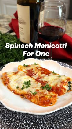 Spinach Manicotti, Manicotti Recipe, Cooking For One, Batch Cooking, Italian Meals, Italian Recipes, Kitchen Recipes, Cooking Recipes, Healthy Recipes