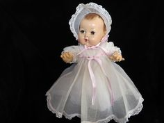 """Beautiful Vintage Effanbee Dy-Dee Doll  Baby 15"""" with her Original Christening Dress and Bonnet"""