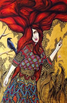 PRIESTESS by Leticia Banegas  Acrylic and oil on canvas . 59″ x 39″ . Honduras