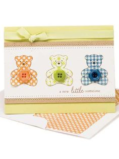 "Paper Crafting - Card Patterns - Baby Card Patterns - Paper-pieced Bears - ""easy"""