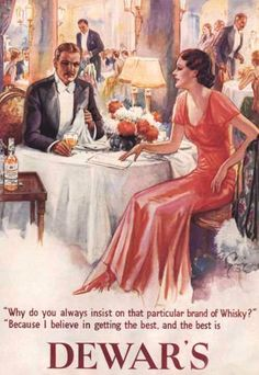 Dewars Whisky 1930 - www.MadMenArt.com | Vintage Ads with Sex Appeal. Over 2000 vintage designs which could be said to have sex appeal. The blurred line between sex appeal and sexism. #Advertising #Vintage #Ads #VintageAds #SexAppeal