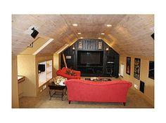 Idea for 3rd floor bonus room. LOVE the wood on the ceiling!