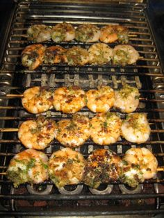 Grilled Shrimp Skewers  I have grilled these for years; found the recipe in a magazine, lost it, put together  from memory; tonight someone's post on FB led me to find it again.  Quick and easy!