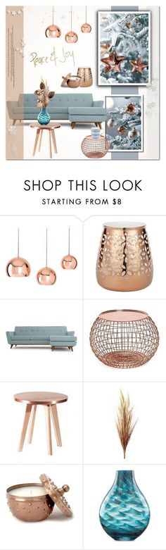 """Copper mood 3/Christmas Decor"" by helenevlacho on Polyvore featuring interior, interiors, interior design, home, home decor, interior decorating, Shiraleah, Lene Bjerre, Joybird Furniture and Lenox"
