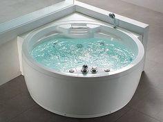 Whirlpool Badewanne rund mit 14 Massage Düsen Heizung Wasserfall Beleuchtung f. Innen kaufen bei Hood.de