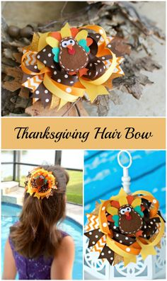 Ready for fall! Thanksgiving turkey hair bow!
