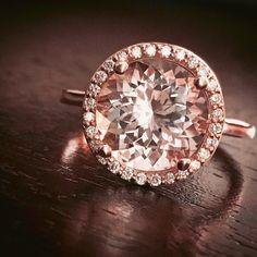 Four Carat Pink Morganite Diamond Halo Ring Certified Stone