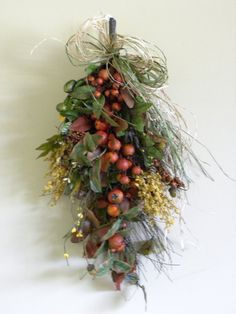 Fall Pine Nuts & Berries Door Swag Home Floral Decor