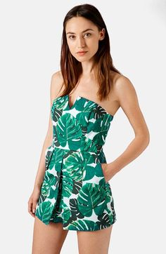 Topshop Palm Print Notched Neck Romper