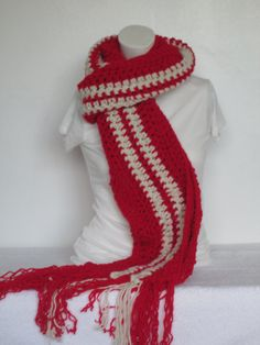 Chunky Scarf with Long Fringe Scarf ~ Fringe Wrap~Stripe - Cherry Red and Aran by VansBasicWear on Etsy