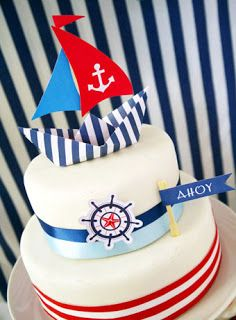 Preppy Nautical Birthday Party with DIY ideas on decorations, printables, food and favors - Great red, white and blue of July or memorial day. Nautical Cake, Nautical Party, Art Festa, Party Giveaways, Bird Party, Cake Blog, Cakes For Boys, 1st Birthday Parties, Birthday Cake